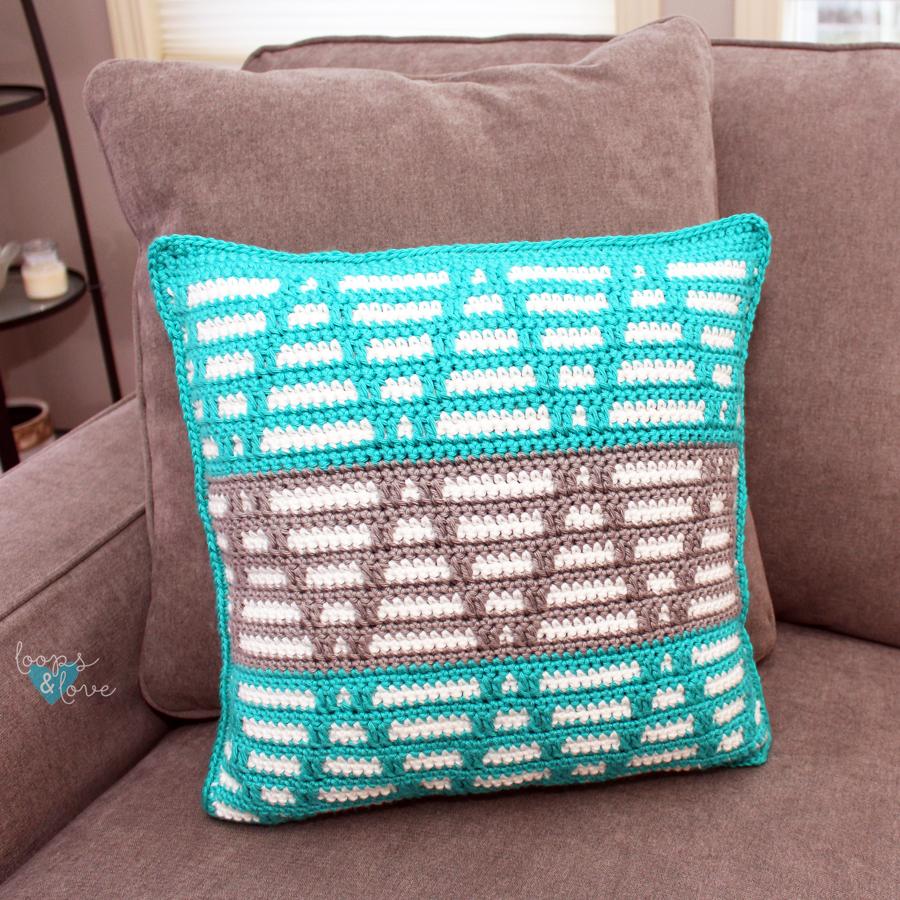 Crochet Pillow on a chair