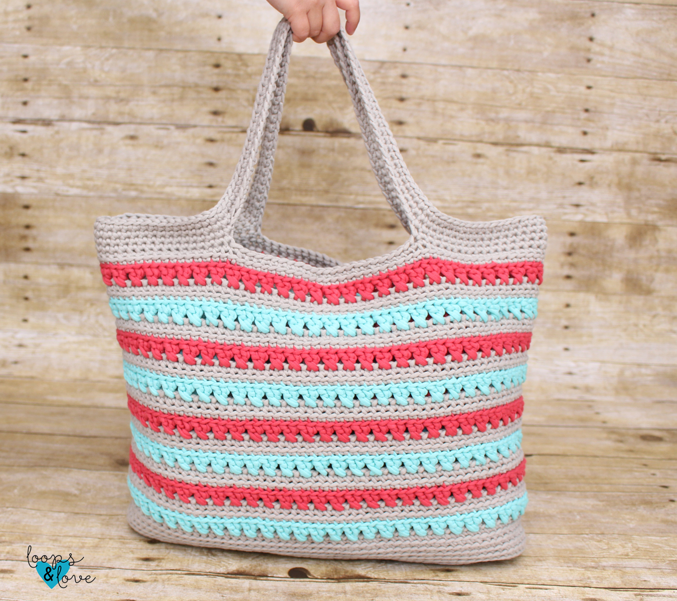 Crochet Market Bag Salmon or Turquoise Colors Ready to ship