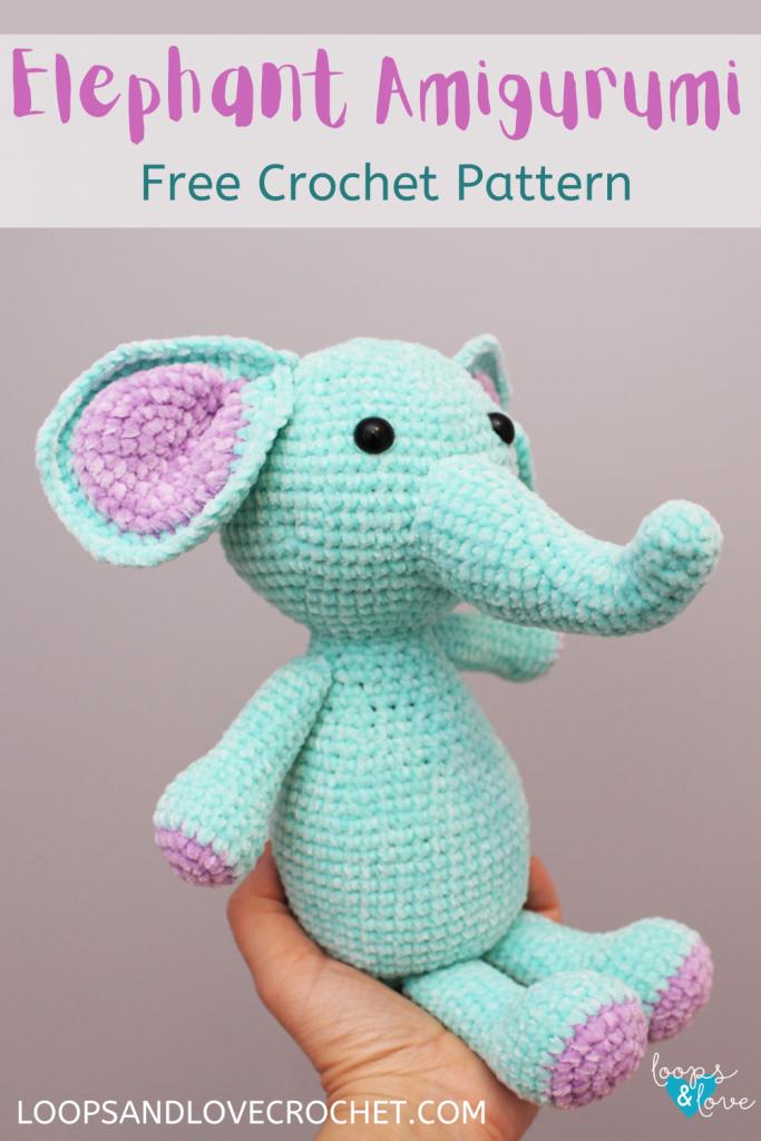 Elephant Amigurumi pinterest pin to take you to pinterest