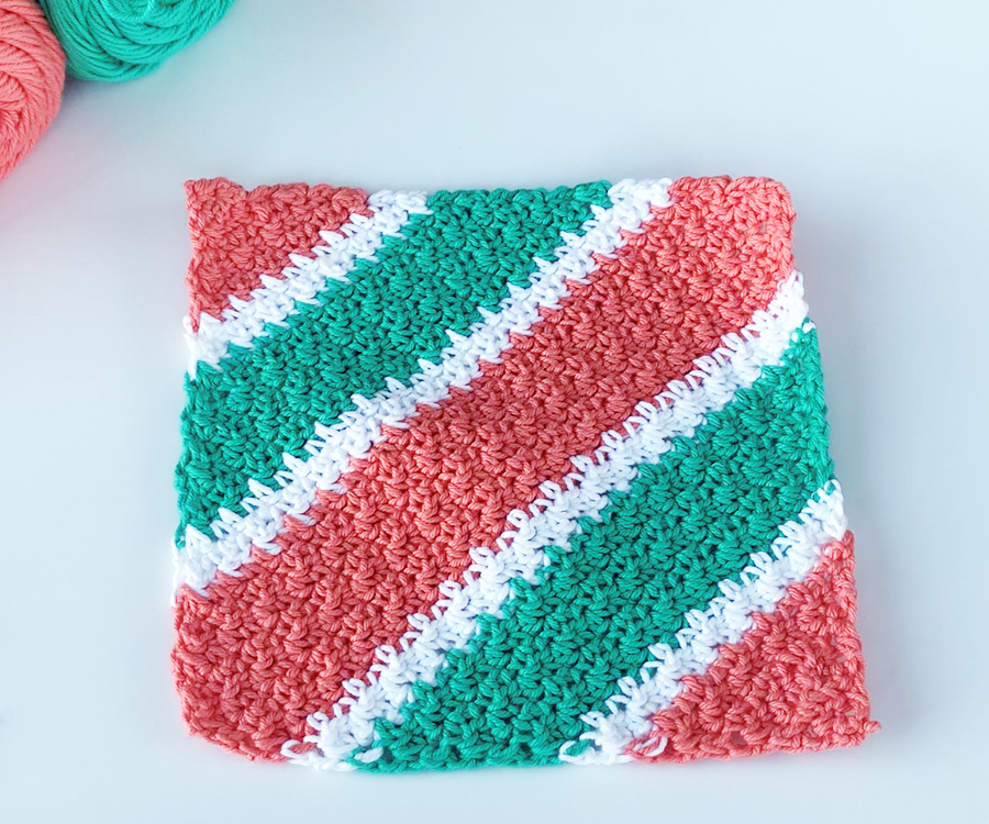 Add a border to your C2C Lemon Peel Stitch Dishcloth