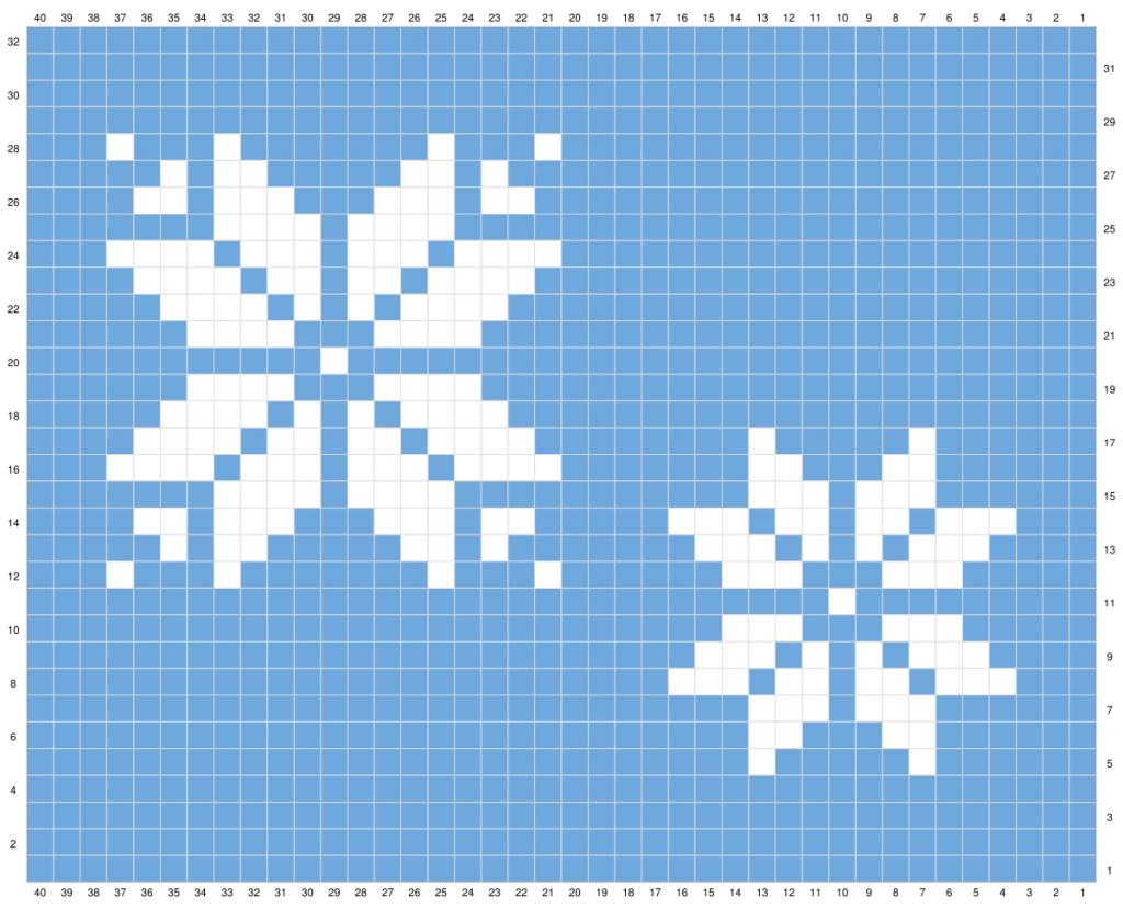 pixel graph showing snowflakes.